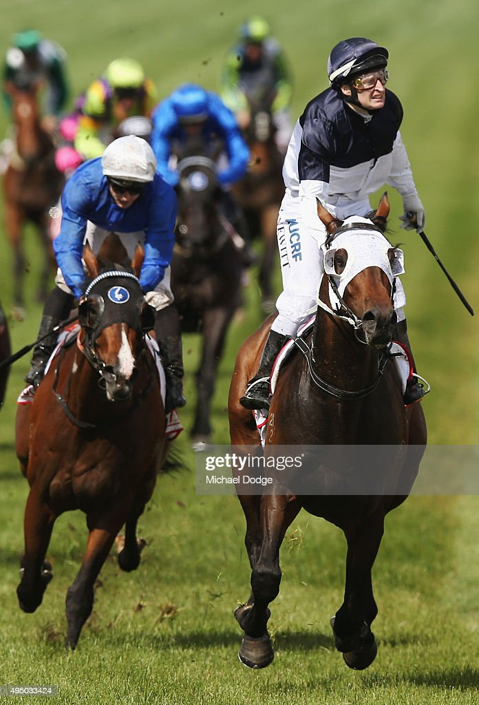 Jockey Craig Newitt riding Tarzino wins race 7 The AAMI Victoria Derby on Derby Day at Flemington Racecourse on October 31, 2015 in Melbourne, Australia.