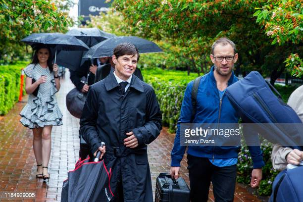 Jockey Craig Williams arrives at the track during 2019 Derby Day at Flemington Racecourse on November 2 2019 in Melbourne Australia
