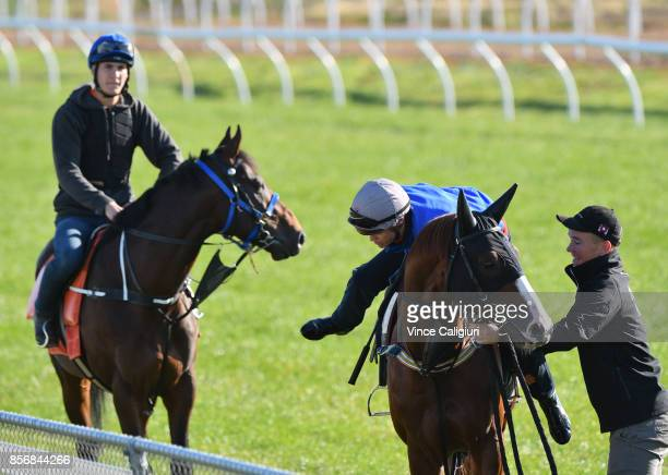 Jockey Craig Williams is legged up by strapper Matt Scown aboard Admire Deus before a trackwork session at Werribee Racecourse on October 3 2017 in...