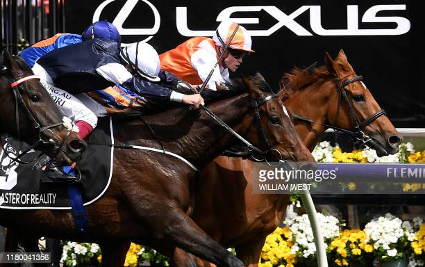 Jockey Craig Williams onboard Vow and Declare wins the Melbourne Cup horse race in Melbourne on November 5 2019 / IMAGE RESTRICTED TO EDITORIAL USE...