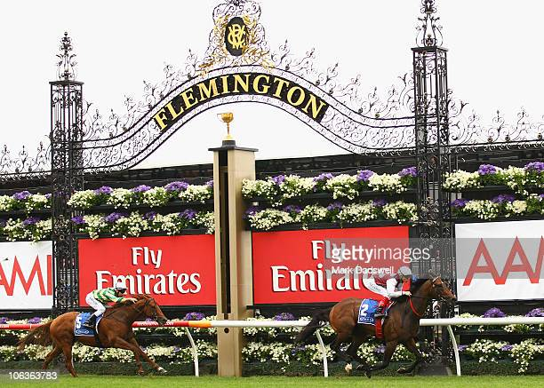 Jockey Craig Williams riding Mr Chard wins Race One the Inglis Carbine Club Stakes during Victoria Derby Day at Flemington Racecourse on October 30...