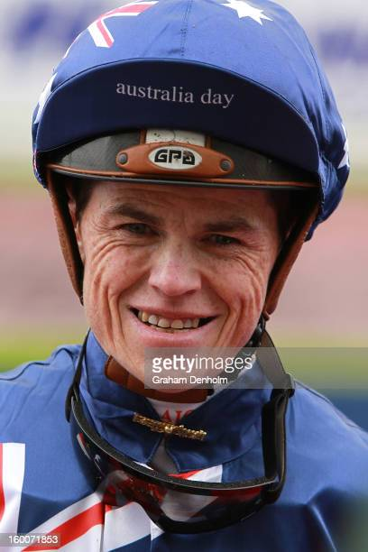 Jockey Craig Williams smiles after riding Summer Gem to victory in race one the Tip Top Butchers Plate during Australia Day Races at Caulfield...