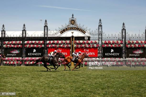 Jockey Damian Lane rides Another Coldie to win race 4 the Melbourne Cup Carnival Country Final on 2017 Oaks Day at Flemington Racecourse on November...