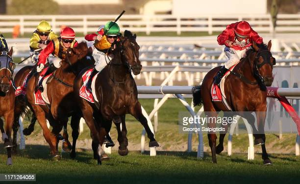 Jockey Damian Lane riding Age of Chivalry to win Race 9, Ladbrokes Odds Boost Handicap during Melbourne Racing Memsie Stakes Day at Caulfield...