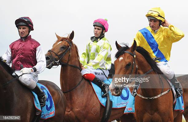 Jockey Damien Oliver looks on after riding The Wingman in the Bluecross Community and Residential Services Plate at Caulfield Racecourse on October...