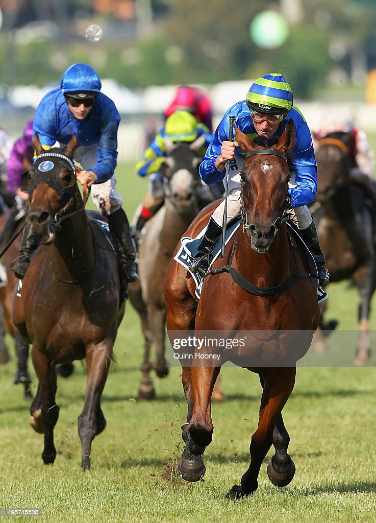 Jockey Damien Oliver riding Jameka wins race 8 the Crown Oaks on Oaks Day at Flemington Racecourse on November 5, 2015 in Melbourne, Australia.