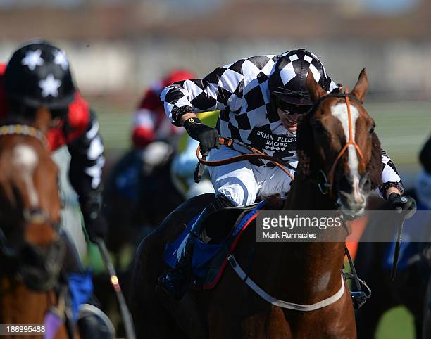 Jockey Danny Cook riding Andreo Bambaleo in the Befriend Johnnie Delta Racing On Facebook Handicap Hurdle Race at Ayr racecourse on April 19 2013 in...