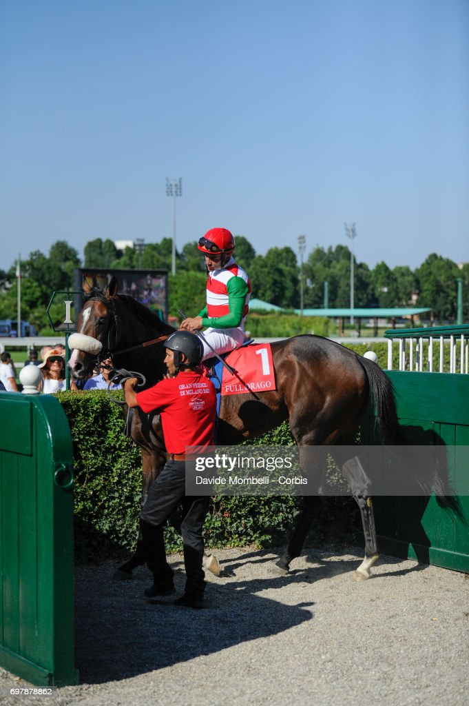 Jockey Dario Vargiu riding Full Drago wins the Grand Prix in Milan on June 18, 2017 in Milan, Italy.