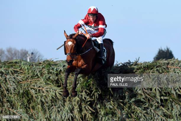 TOPSHOT Jockey Davy Russell jumps the last fence on Tiger Roll on his way to winning the Grand National horse race on the final day of the Grand...