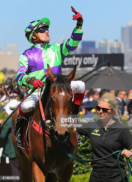Jockey Dean Yendall returns to scale after winning on I Am a Star in The Myer Classic on Derby Day at Flemington Racecourse on October 29 2016 in...