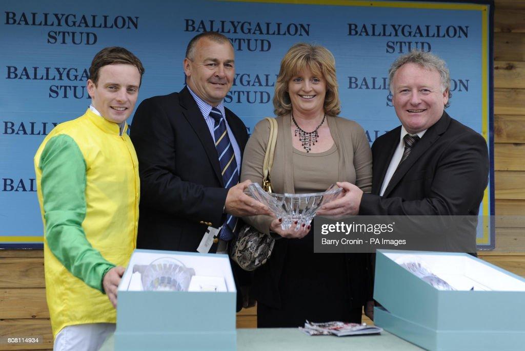 Jockey Declan McDonogh with owner Norman Ormiston receive the