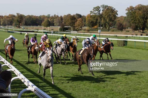 Jockey Delphine Santiago riding Delphine Santiago wins the Race 7 La Thierache Handicap at Compiegne racecourse on October 8, 2018 in Compiegne,...