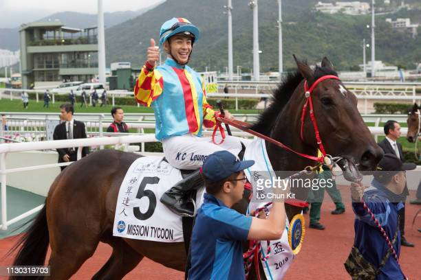 KONG FEBRUARY Jockey Derek Leung Kachun riding Mission Tycoon wins Race 9 The Hong Kong Classic Cup at Sha Tin racecourse on February 17 2019 in Hong...