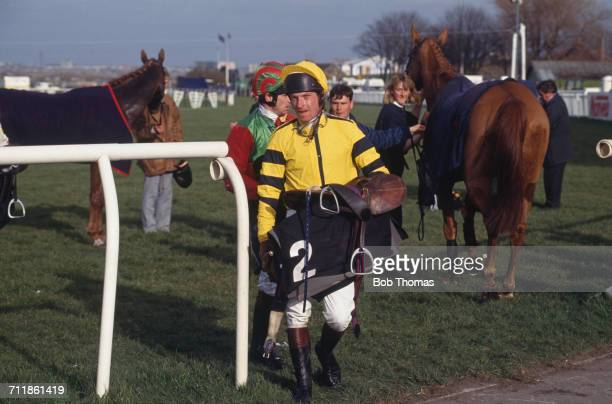 Jockey E Bailey after the National Hunt Flat Race during the Grand National Festival at Aintree Racecourse Liverpool April 1993