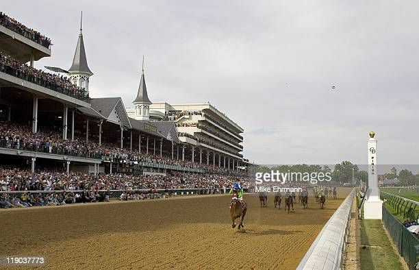 Jockey Edgar Prado aboard Barbaro wins the 2006 Kentucky Derby the 132nd Run for the Roses at Churchill Downs in Louisville Kentucky on May 6 2006