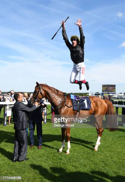 Jockey Frankie Dettori after winning the Magners Rose Doncaster Cup Stakes during Gentlemen's day at Doncaster Racecourse on September 13, 2019 in...