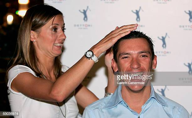 Jockey Frankie Dettori and his wife Catherine unveil his new range of men's grooming products at another of Dettori's ventures Frankies Bar Grill on...