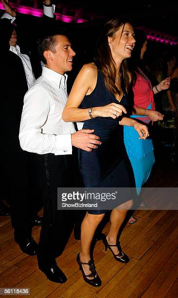 Jockey Frankie Dettori and wife Catherine dance during The Marie Keating Foundation's 5th Annual Pink Ribbon Ball at the Burlington Hotel on November...