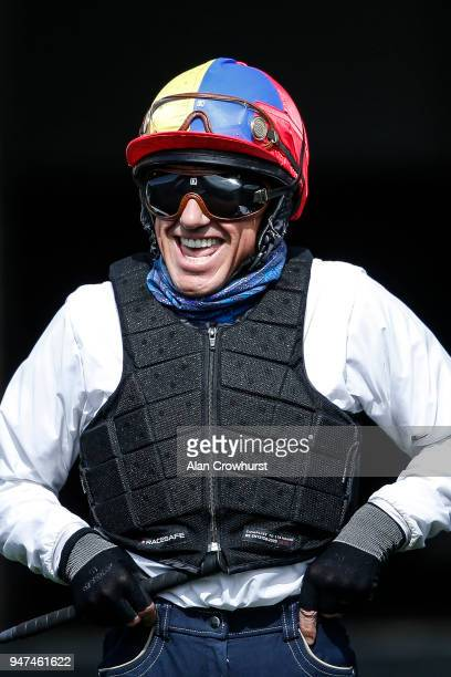 Jockey Frankie Dettori laughs in the pre parade ring at Newmarket racecourse on April 17 2018 in Newmarket England