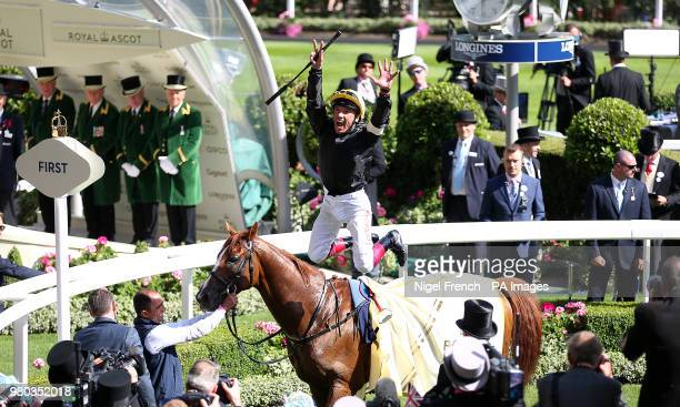 Jockey Frankie Dettori on board Stradivarius celebrates wining the Gold Cup during day three of Royal Ascot at Ascot Racecourse.
