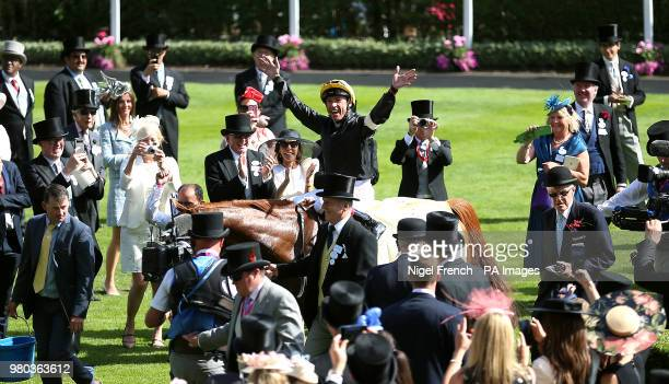 Jockey Frankie Dettori on board Stradivarius celebrates winning the Gold Cup during day three of Royal Ascot at Ascot Racecourse.