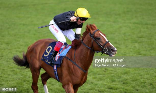 Jockey Frankie Dettori on board Stradivarius wins the Gold Cup during day three of Royal Ascot at Ascot Racecourse.