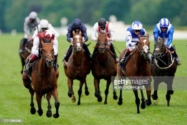 Jockey Frankie Dettori riding Fanny Logan wins The Hardwicke Stakes on day four of the Royal Ascot horse racing meet in Ascot west of London on June...