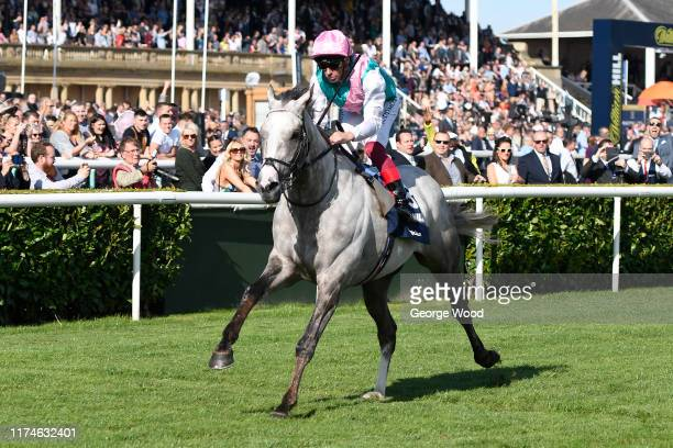 Jockey Frankie Dettori riding Logician wins the William Hill St Leger Stakes during St Leger Day at Doncaster Racecourse on September 14, 2019 in...