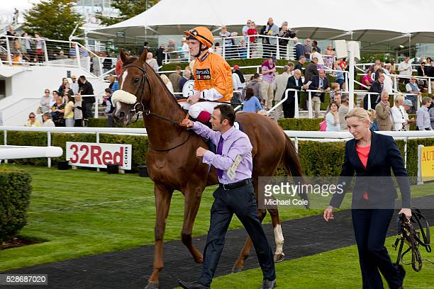 Jockey Frederik Tylicki on Hors De Combat in the Paddock at 'Goodwood Bank Holiday Weekend' Goodwood Racecourse 23rd Aug 2014