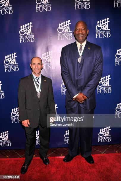 Jockey Gary Stevens and former NBA player James Worthy attends the 28th Annual Great Sports Legends Dinner to Benefit The Buoniconti Fund To Cure...