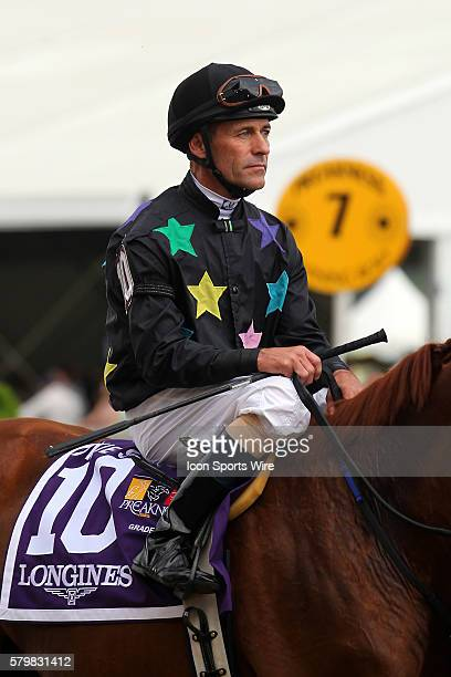 Jockey Gary Stevens during the Preakness Stakes at Pimlico Race Course in Baltimore MD
