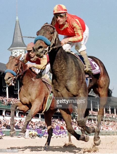 Jockey Gary Stevens takes Silverbulletday to victroy over Excellent Meeting 07 November during the Breeders' Cup Juvenile Fillies Race at Churchill...