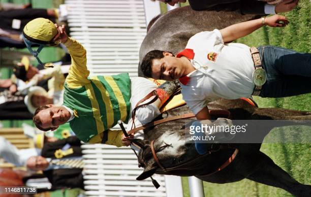 Jockey Gary Stevens waves to the crowd as his horse Silver Charm is walked to the winner's circle after winning the 122nd Preakness Stakes 17 May at...