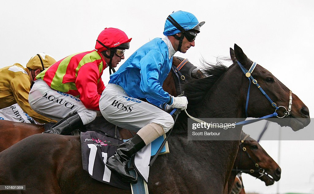 Jockey Glen Boss rides Black And Bent on his way to winning race 4 the Banjo Paterson Series Heat 2 during David Bourke Provincial Plate Day at Flemington Racecourse on June 5, 2010 in Melbourne, Australia.