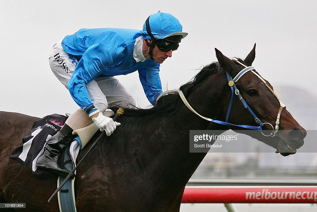Jockey Glen Boss rides Black And Bent to win race 4 the Banjo Paterson Series Heat 2 during David Bourke Provincial Plate Day at Flemington Racecourse on June 5, 2010 in Melbourne, Australia.