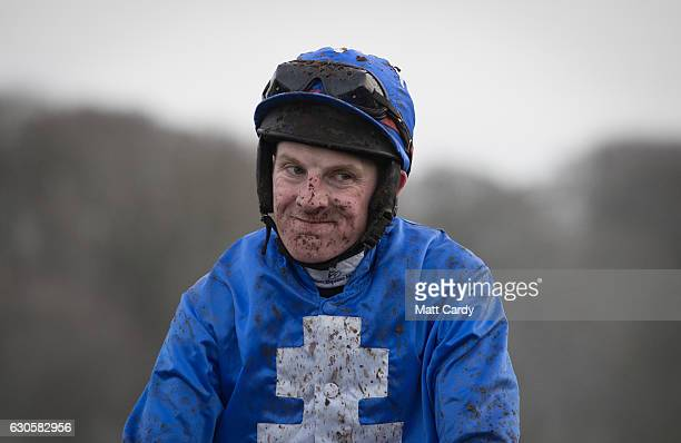 Jockey GN Fox reacts after the Welsh Grand National Handicap Steeple Chase during the 2016 Coral Welsh Grand National at Chepstow Racecourse on...