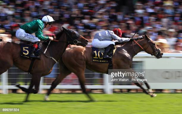 Jockey Gregory Benoist on board Qemah wins the Duke Of Cambridge Stakes during day two of Royal Ascot at Ascot Racecourse
