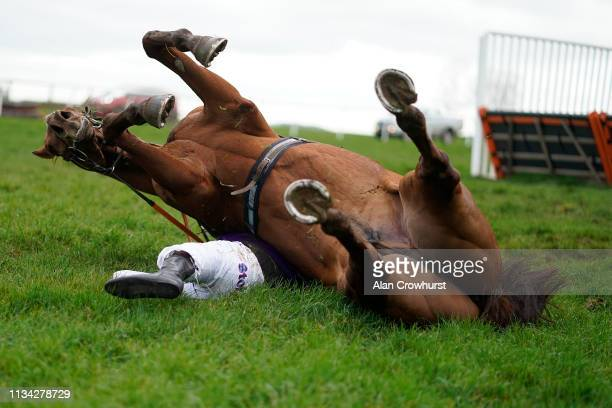 Jockey Harry Kimber falls from his mount West Chinnock at the last hurdle in The Follow Us On Twitter At starsports_bet Maiden Hurdle at Wincanton...