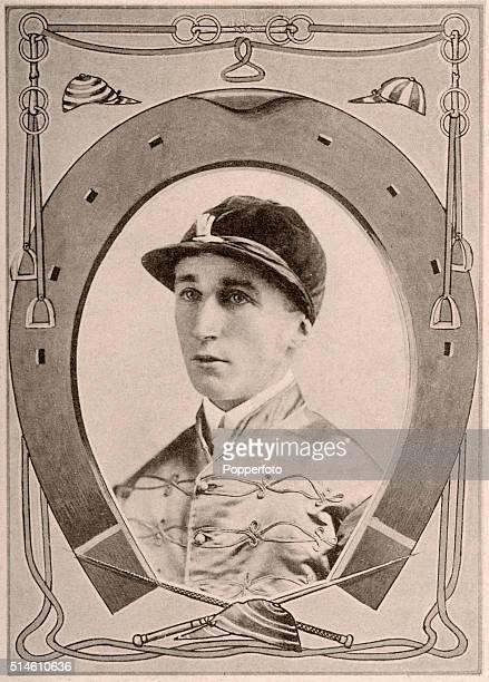 Jockey Herbert Jones who won the Triple Crown on Diamond Jubilee featured on a vintage postcard published circa 1900