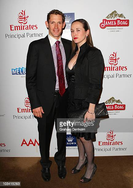 Jockey Hugh Bowman and wife Christine attend the Melbourne Cup Carnival Launch at The Ivy on August 17 2010 in Sydney Australia The 2010 Melbourne...
