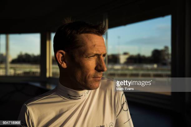 Jockey Hugh Bowman looks on in the Trainers Hut during a Rosehill Trackwork Session at Rosehill Gardens on March 20 2018 in Sydney Australia