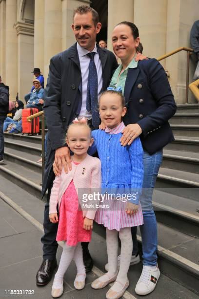 Jockey Hugh Bowman poses with wife Christine and daughters Paige and Bambi before the 2019 Melbourne Cup Parade on November 04, 2019 in Melbourne,...