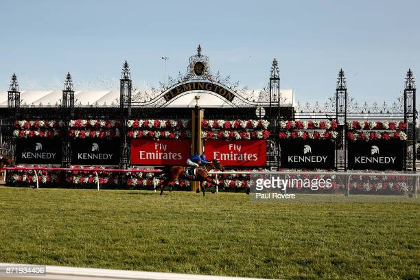 Jockey Hugh Bowman rides Jorda to win race 9 the Kennedy Plate on 2017 Oaks Day at Flemington Racecourse on November 9 2017 in Melbourne Australia