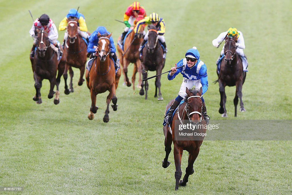 Jockey Hugh Bowman rides Winx to win race 9 the William Hill Cox Plate during Cox Plate Day at Moonee Valley Racecourse on October 22, 2016 in Melbourne, Australia.