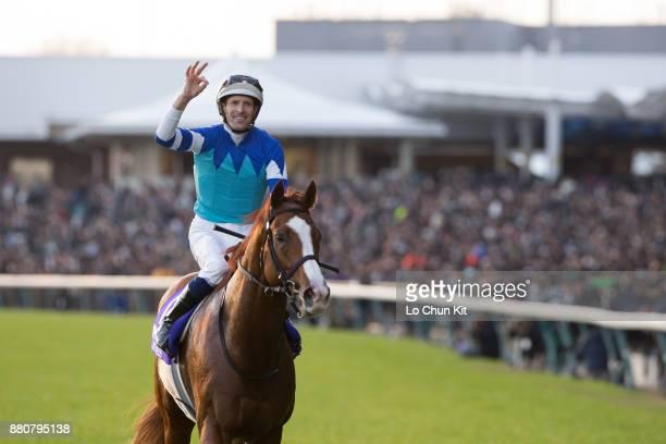Jockey Hugh Bowman riding Cheval Grand wins the 37th Japan Cup at Tokyo Racecourse on November 26, 2017 in Tokyo, Japan.