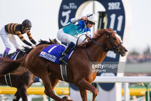 Jockey Hugh Bowman riding Cheval Grand wins the Japan Cup in association with Longines at Tokyo Racecourse on November 26, 2017 in Tokyo, Japan.