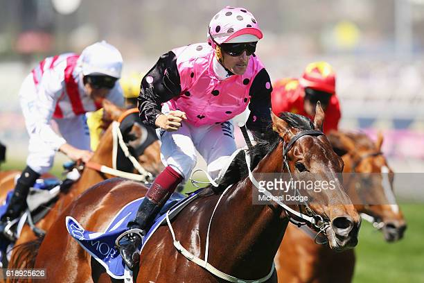 Jockey Hugh Bowman riding Flying Artie wins race 5 The Coolmore Stud Stakes on Derby Day at Flemington Racecourse on October 29 2016 in Melbourne...