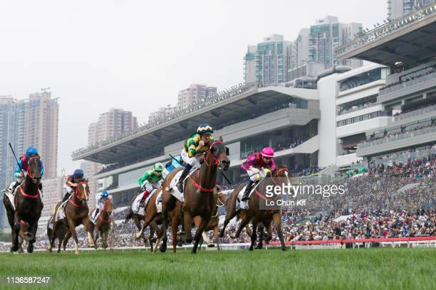 Jockey Hugh Bowman riding Furore wins the Race 8 The BMW Hong Kong Derby 2019 at Sha Tin Racecourse on March 17, 2019 in Hong Kong. Waikuku finished...