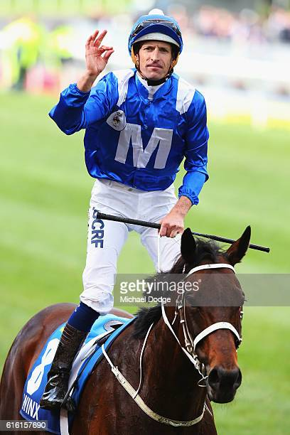 Jockey Hugh Bowman riding Winx returns to scale after winning race 9 the William Hill Cox Plate during Cox Plate Day at Moonee Valley Racecourse on...