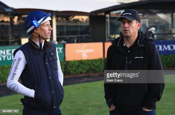 Jockey Hugh Bowman with trainer Chris Waller after a Winx trackwork session at Rosehill Gardens on April 12 2018 in Sydney Australia
